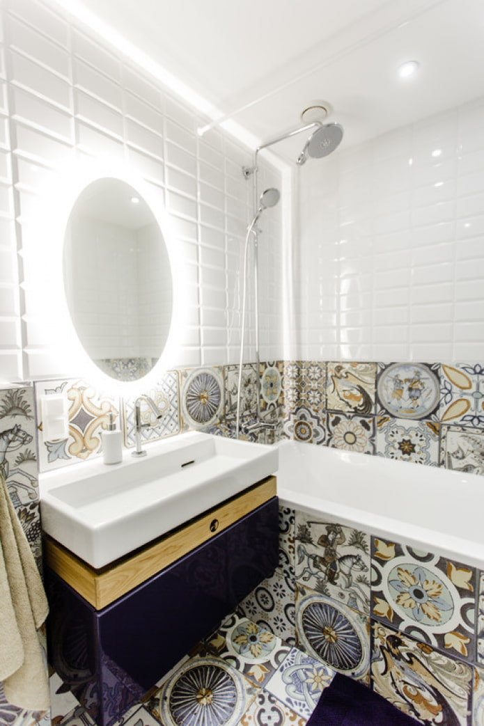 разная плитка в ванной