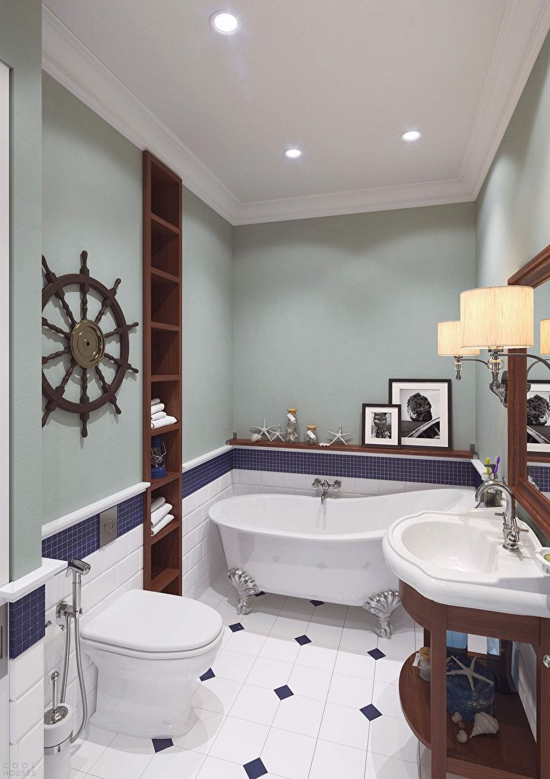 Ванная 4 кв.м. в морском стиле - Дизайн интерьера
