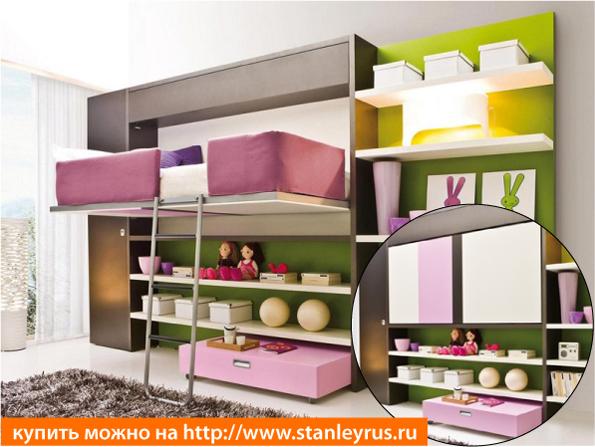 Горизонтальная детская шкаф-кровать-чердак