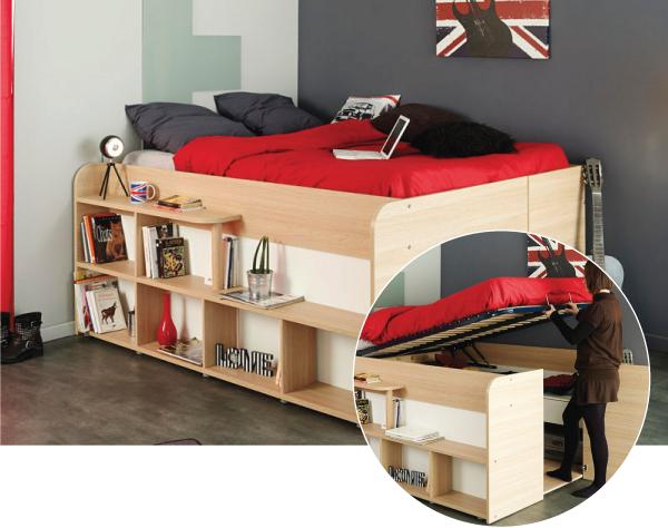 Кровать-кладовка с устройством для подъема
