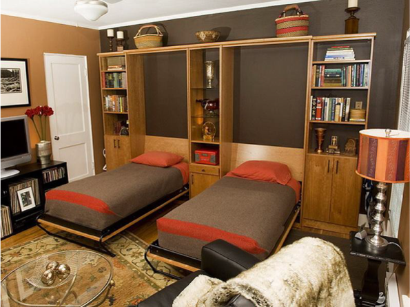 Две односпальные кровати трансформеры встроенные в один шкаф