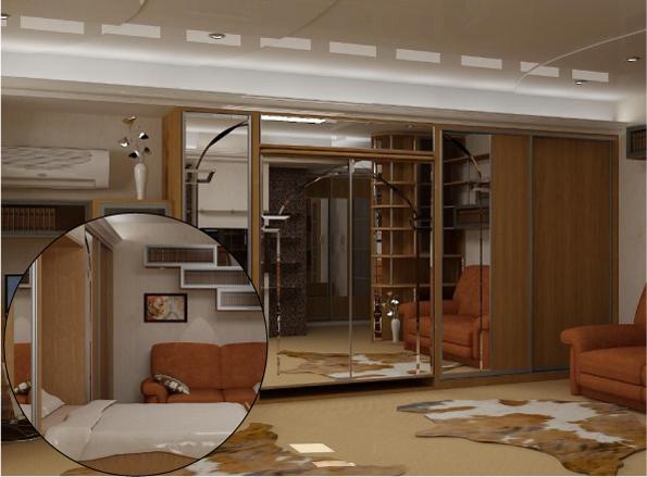 Шкаф купе с двуспальной кроватью трансформером