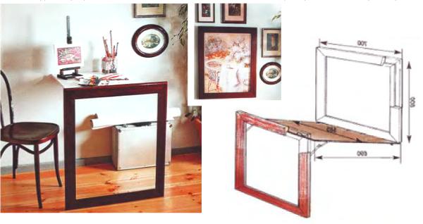 Откидной стол - картина с цельной рамой, являющейся опорой