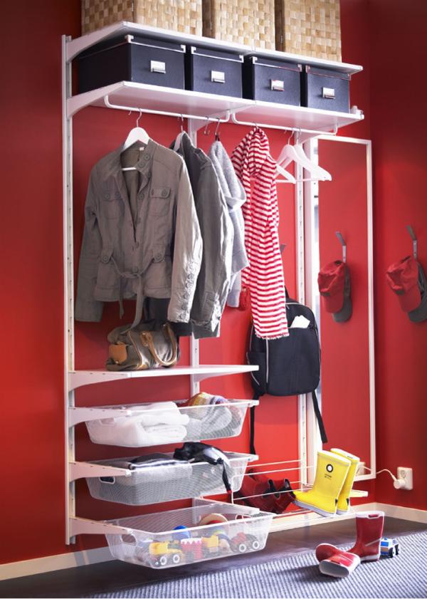Коробки для вещей в гардеробной зоне