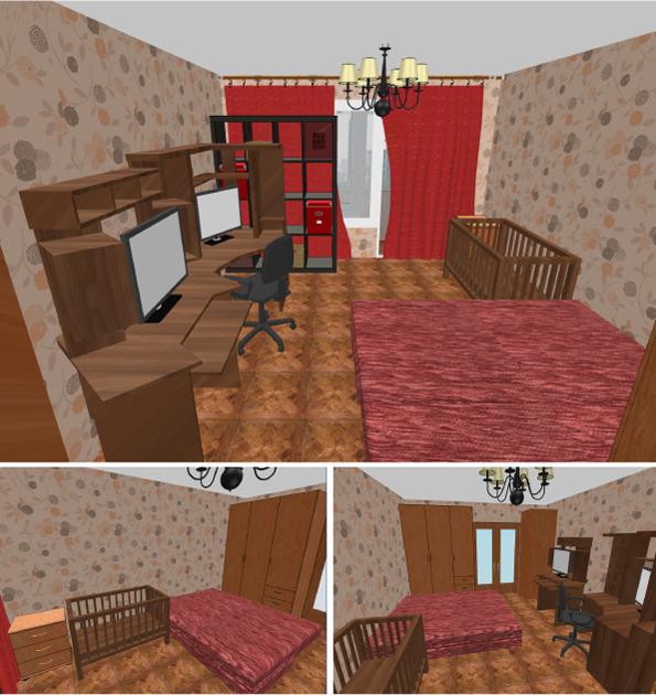 3D модель гостиной комнаты