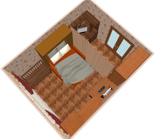 Гостиная-спальня в ночное время суток