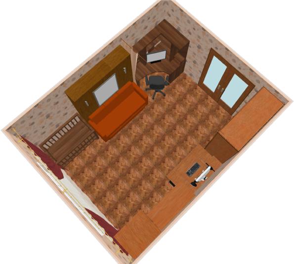 Гостиная-спальня в дневное время суток