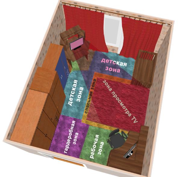 Зонирование комнаты спальная гостиная 3D