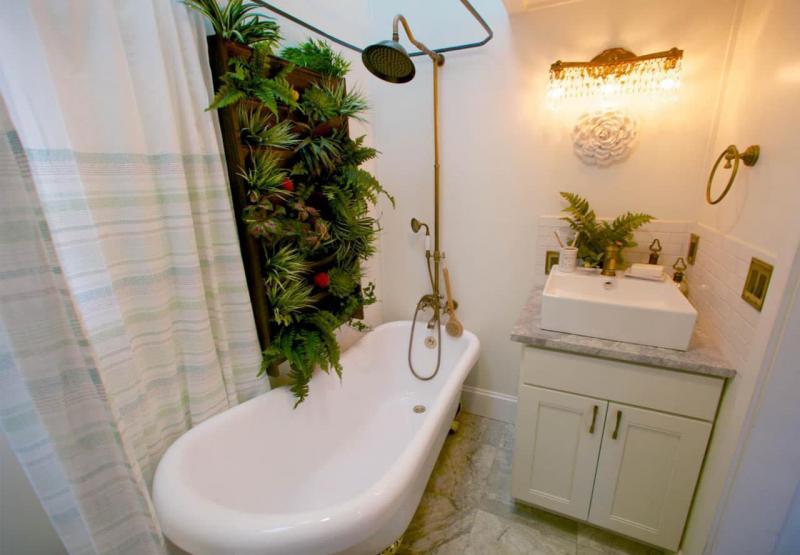 Идея оформления маленькой ванной комнаты 10