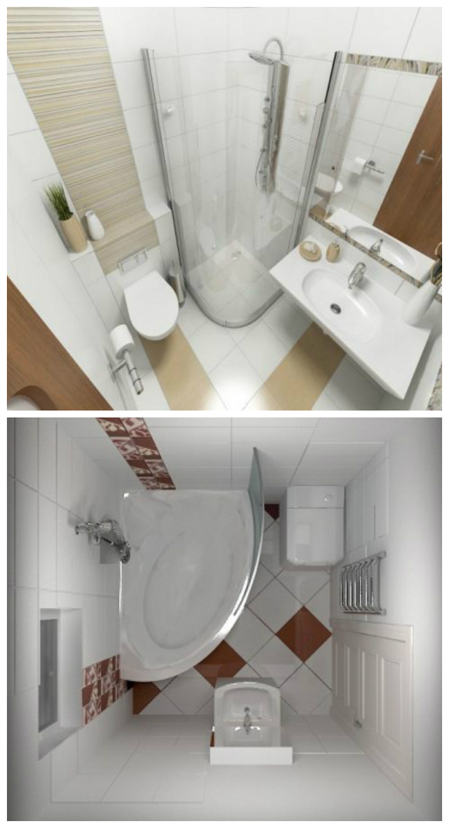 Интерьер маленькой ванной с туалетом 3 кв. м. и 4 кв. м.