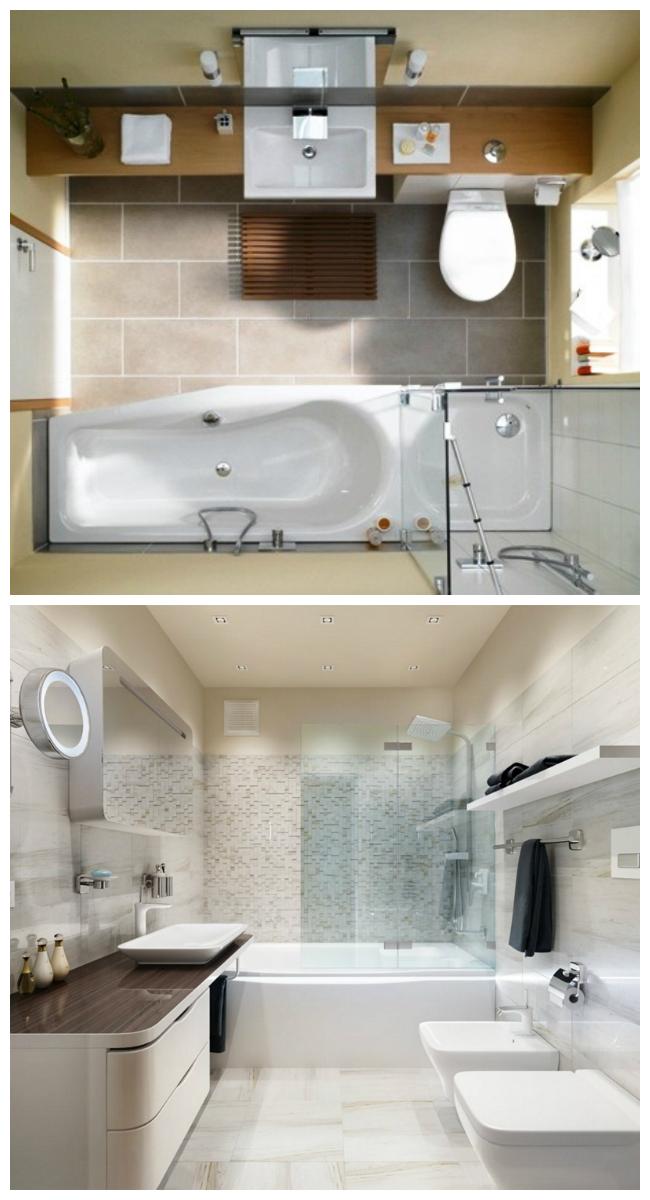 Интерьер небольшой ванной с туалетом 5 кв. м. и 6 кв. м.