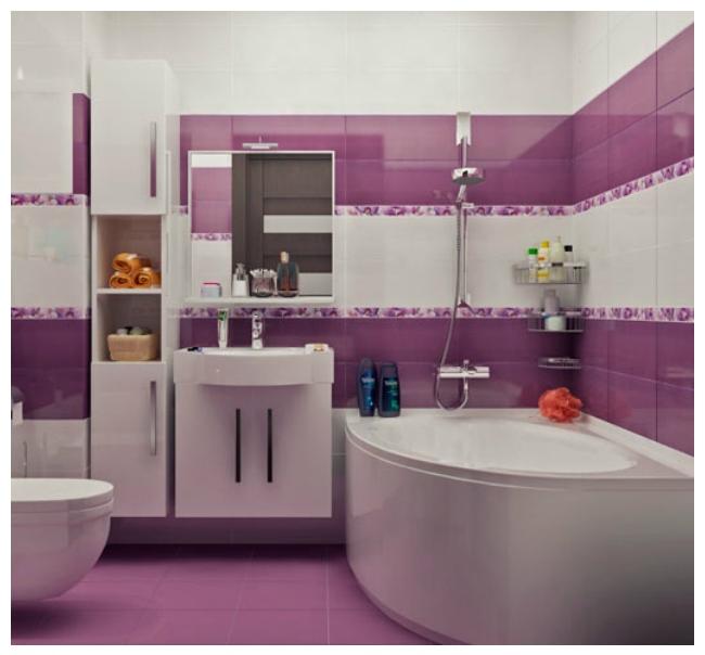 Интерьер ванной, совмещенной с туалетом